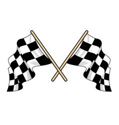 Crossed waving motor sport flags vector image