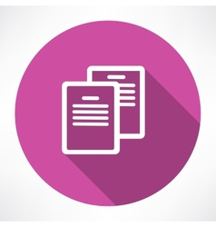 Two documents icon vector