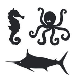 Sea horse Octopus and big fish set vector image
