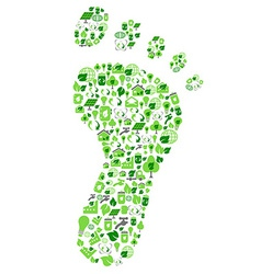 Green eco friendly footprint filled with ecology vector