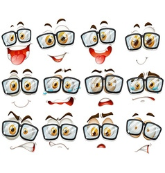 Facial expression with glasses vector