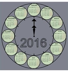 Watch dial hands 2015 year calendar vector