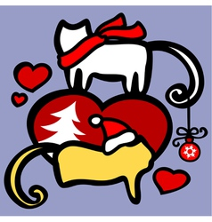 Xmas cats in love vector