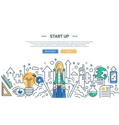 Modern start up line flat design vector