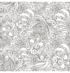 Seamless pattern of abstract flowers and paisley vector