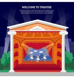 Theatre performance playbill flat colorful print vector