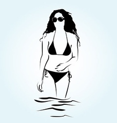 A woman in the water vector