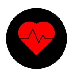 Heartbeat sign red icon vector