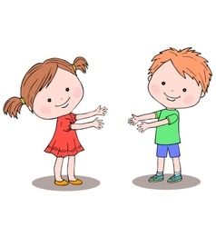 Little girl and boy standing next to each other vector