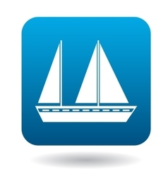 Sailing vessel with two masts icon flat style vector