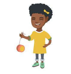 african-american girl playing with yo-yo vector image