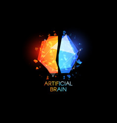 Artificial intellect brain logo glasses colorful vector