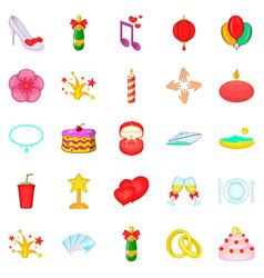 Bliss icons set cartoon style vector