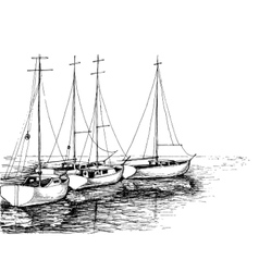 Boats on sea artistic drawing vector image vector image