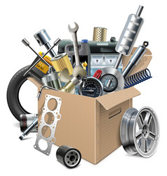 Carton Box with Car Spares vector image