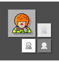 Clown icon dressed in polka dots in the contour vector