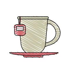 Color crayon stripe cartoon porcelain cup of tea vector