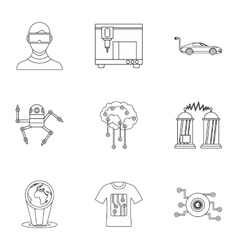 Computer latest devices icons set outline style vector image