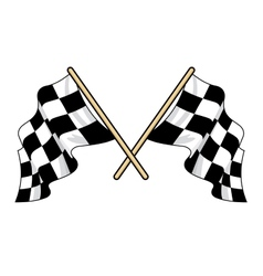 Crossed waving motor sport flags vector image