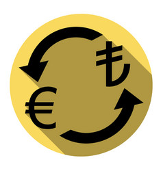 Currency exchange sign euro and turkey lira vector