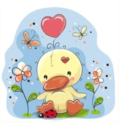 Cute cartoon duckling vector