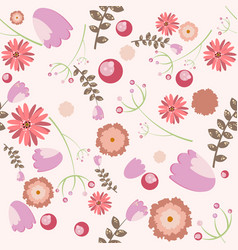 Cute seamless pattern with floral elements vector