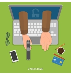Cybercrime flat concept vector image vector image