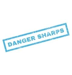Danger sharps rubber stamp vector