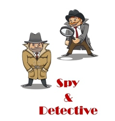 Detective and spy man cartoon characters vector image