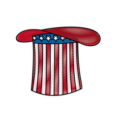 Drawing hat flag america celebration party vector