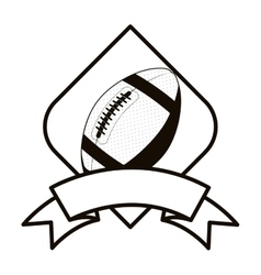 Gray scale football tournament emblem with ball vector
