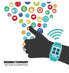 Hand smart watch wearable technology vector