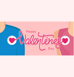 happy valentines day with couple vector image vector image