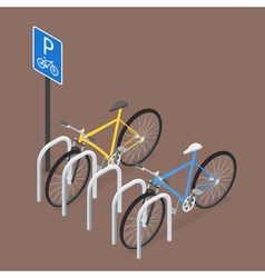 Isometric Bicycle Parking Flat style vector image vector image