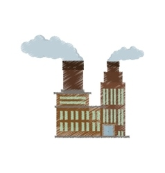 Manufacture building pollution chimney vector