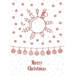 Merry christmas ball background doodle vector image vector image