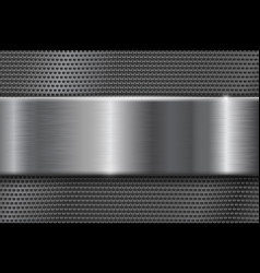 Metal perforated background with brushed plate vector