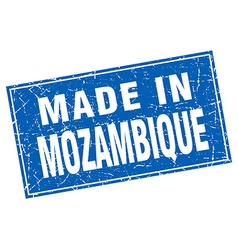 Mozambique blue square grunge made in stamp vector