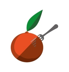 orange fruit on fork with shadow vector image vector image