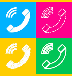 Phone sign four styles of icon on vector