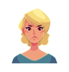 Pretty blond woman angry facial expression vector image vector image