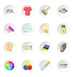 Print process icons set vector