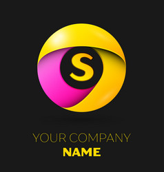 Realistic letter s logo in colorful circle vector