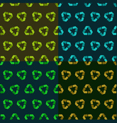 set of four seamless flat recycle vector image