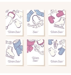 Set of sale tags hand drawn winter accessories vector