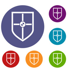 Shield for fight icons set vector