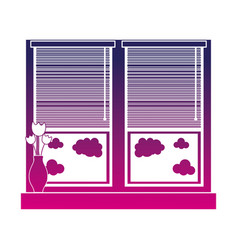 Silhouette window with blind curtain and fower vector