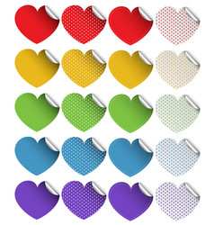 sticker design in heart shapes vector image vector image