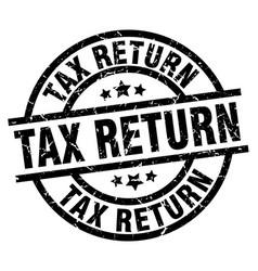 Tax return round grunge black stamp vector