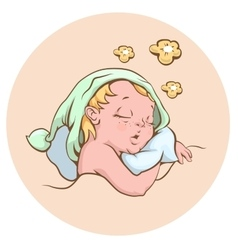 The baby sleeping sweetly vector image